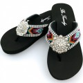WFF000013 Wholesale Rhinestone Western Cowgirl Flip Flops with Concho Embroidery