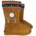KT_8209-4 Wholesale UGG Style Clear Rhinestone Concho Cowgirl Double Pistol Tan Snow Winter Boots