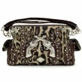 KH_018 Wholesale Trendy Western Cowgirl Purse Rhinestone Leopard Print Double Pistol Shoulder Handbag Brown
