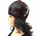 KHT_001_1 Wholesale Western Cross Women Accessories Winter Lace Button Knit Beanie Hats Brown