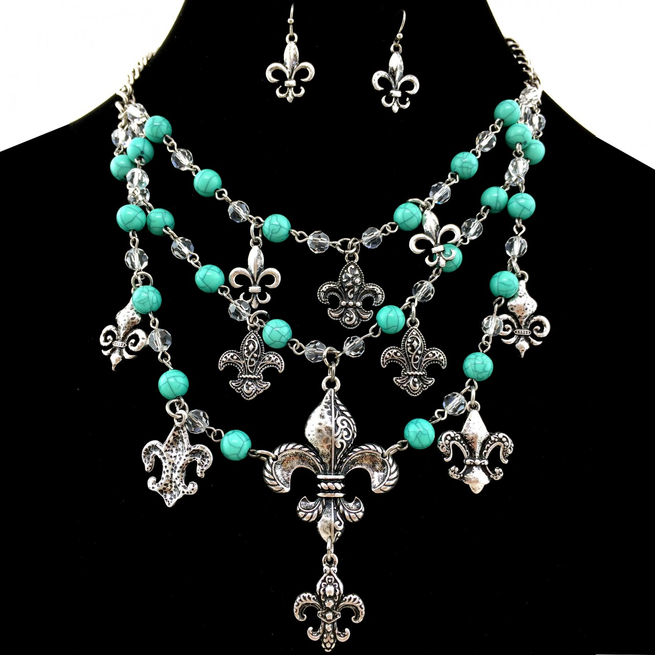 Western Fleur De Lis Turquoise Chain Necklace With