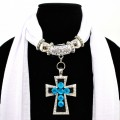 SJ025 Snow White Scarf With Bead Filled Cross Shaped Pendant