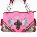 5778 Hot Pink Wholesale Western Style Rhinestone Angel Wing Cross Tooled Embroidery
