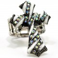 RNG_014_AB Wholesale AB Rhinestone Cross Stretch Ring