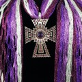 SJ026 Wholesale Gradiant Purple Expandable Lace Silver Clear Rhinestone Cross Jewelry Scarf
