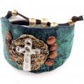 WHOLESALE VINTAGE WESTERN HAMMERED PLATE CROSS LEATHER BLACK CUFF PATINA BRACELET 3
