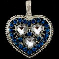 PEN_026 Wholesale Turquoise Clear Heart Gemstone Rhinestone Silver Color Magnetic Pendant