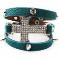 BRC_1005 Wholesale Large Full Bling Rhinestone Sideways Silver Cross Turquoise Leather Spike Wrap Around Bracelet
