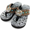 WFF0007 Wholesale Western Leather Strap Bronze Turquoise Flip Flop with Gemstone Rhinestone Concho