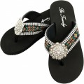 WFF000014 Wholesale Rhinestone Western Cowgirl Flip Flops with Concho Embroidery