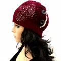 KHT_001_1 Wholesale Western Cross Women Accessories Winter Lace Button Knit Beanie Hats Red