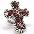 RNG_015_Red Wholesale Red Rhinestone Cross Silver Metal Stretch Ring