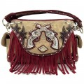 KH_019 Wholesale Trendy Western Cowgirl Purse Rhinestone Double Pistol Fringe Shoulder Handbag Red