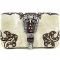 HR_151B wholesale western Buckle Design Beige Carved Leather New Flat Woman Wallet