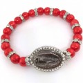 BRC_1004 Virgin Mary Rosary rhinestone beads Red pearl Handmade Bracelet