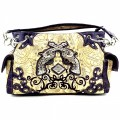 KH_013_1 Wholesale Purse Western Cowgirl Purse Double Pistol Concealed Carry Tooled Shoulder Handbag Purple