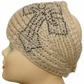 KHW_001 Black Clear Rhinestone Knitted White Head wrap Earwarmer Head Band