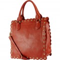 OH5013 RED ORANGE Wholesale Fashion Square Leatherette Material Handbag