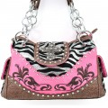 2268 HPINK Wholesale Western Handbags Shiny Zebra Cross Rhinestone Flower Embroidery Rhinestone