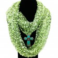 SJ019 Wholesale Green Theme Confetti Scarf Silver Red Turquoise Flower Cross Pendant and Earring