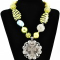 NKL_359 Wholesale Neon Yellow Bubble Rose Zebra Shell Bead with Rhinestone Cross Pendant
