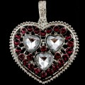 PEN_026 Wholesale Purple Clear Heart Gemstone Rhinestone Silver Color Magnetic Pendant