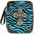 A5763_TURQUOISE Zebra Wholesale Vintage Silver Color Cross with Studded Rhinestones Bible Covers