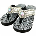 WFF0005 Wholesale Western Leather Strap White Flip Flop with AB Rhinestone Flower Concho