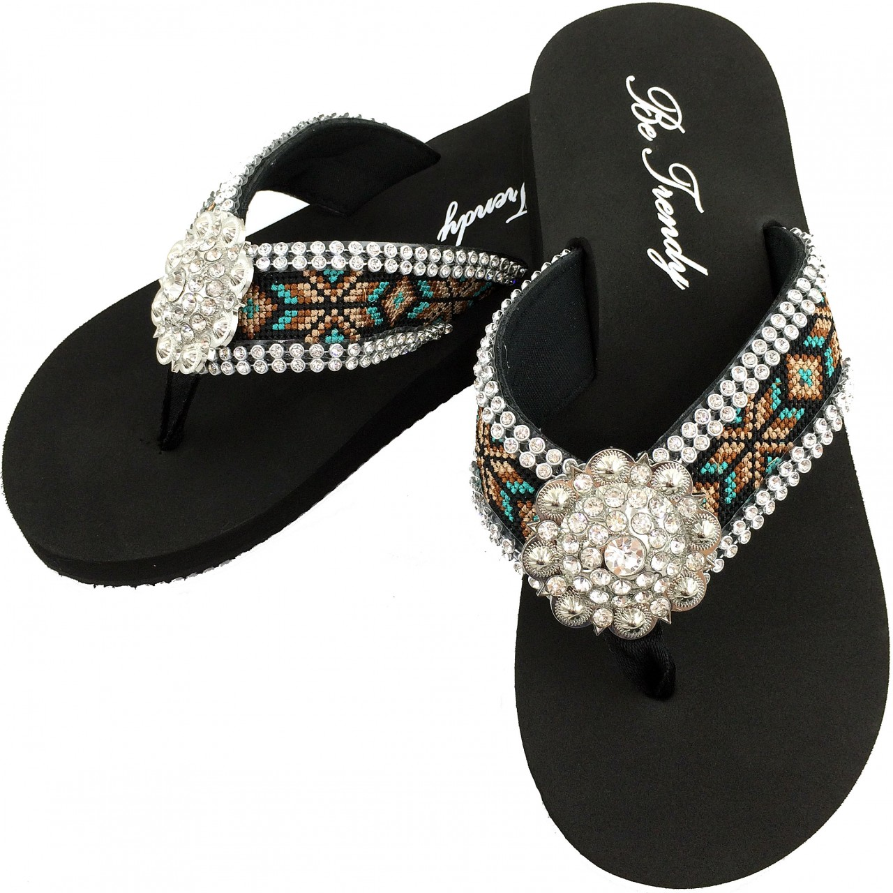 95f83bd94739 WFF000014 Wholesale Rhinestone Western Cowgirl Flip Flops with Concho  Embroidery. Image 1