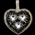 PEN_026 Wholesale Dark Gray Clear Heart Gemstone Rhinestone Silver Color Magnetic Pendant