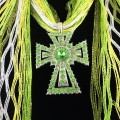 SJ026 Wholesale Gradiant Green Expandable Lace Silver Clear Rhinestone Cross Jewelry Scarf