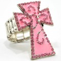 RNG_013_Pink Wholesale Pink Rhinestone Cross Stretch Ring