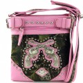 MSG2505 Wholesale Western Rhinestone Camo Double Pistol Messenger Handbag Light Pink