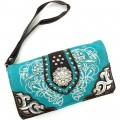 Wholesale Rhinestones Western Cowgirl Concho Embroidery Turquoise Wallet With Strap Kw10