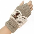 KG_09_BR Wholesale Women's Accessories Crochet Knitting Lace Fingerless Mittens Button Gloves Warm Winter Grey