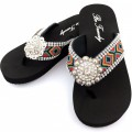 WFF000016 Wholesale Rhinestone Western Cowgirl Flip Flops with Concho Embroidery