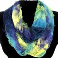 S-1231-1 Wholesale Butterfly 2 Layer Soft Infinity Scarf - Blue/Yellow