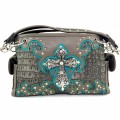 KH_024 Wholesale Trendy Western Cowgirl Purse Rhinestone Croc Skin Cross Shoulder Handbag Pewter