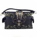KH_025 Wholesale Trendy Western Cowgirl Purse Rhinestone Croc Skin Crown Buckle Shoulder Handbag Black