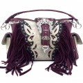 KH_022 Wholesale Trendy Western Cowgirl Purse Rhinestone Crown Buckle Fringe Conceal Carry Shoulder Handbag Purple