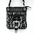 1307 BLACK Wholesale Silver Metal Belt Buckle Rhinestone Studded Silver Zebra Stripe Messenger Bag