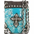 Wholesale Handbags Turquoise Western Rhinestone Cross  Embroidery Cross Body Messenger bag KW15BK