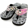 WFF0007 Wholesale Western Leather Strap Candy Edition Multicolor Flip Flop with Gemstone Rhinestone Concho