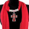 Wholesale Red Fabric Jewelry Scarf with Metal Cross with Red Seed Beads and Rhinestones