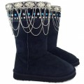 Wholesale Western Boots Winter Boot Topper Rhinestone Studs Chains Black Size 6