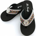 WFF000011 Wholesale Rhinestone Western Cowgirl Flip Flops with Cross Concho Embroidery