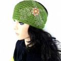 KH_1_1 Wholesale Accessories Western Winter Rhinestone Double Pistol Concho Knit HeadBand Head Warp Ear Warmer Green