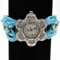 Watch_007 Baby Blue Wholesale Intricate Layered Beaded Watch